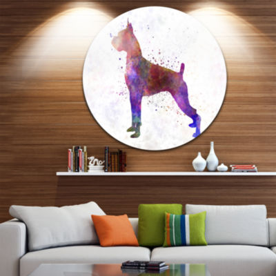 Design Art Boxer in Watercolor Disc Animal CircleMetal Wall Art