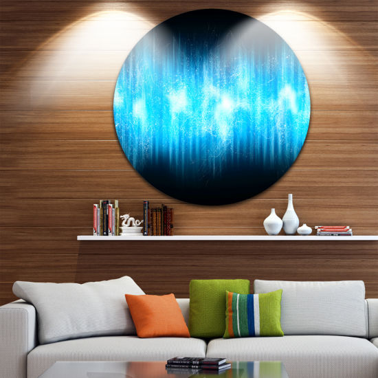 Design Art Blue Ice Flame Abstract Disc Large Contemporary Circle Metal Wall Arts