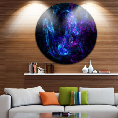 Design Art Blue Chaotic Strokes Disc Abstract Circle Metal Wall Art
