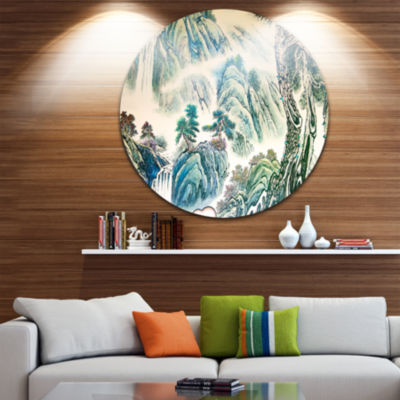 Design Art Blue Chinese Landscape Painting Disc Floral Circle Metal Wall Art