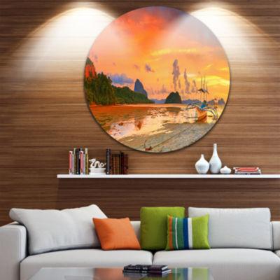 Design Art Boat at Sunset Panorama Landscape Photography Circle Metal Wall Art