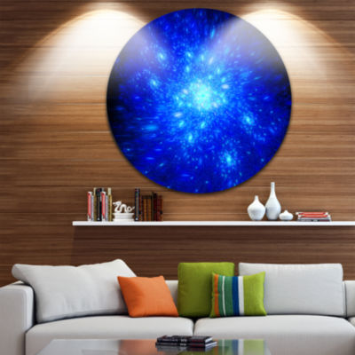Design Art Blue Fireworks on Black Abstract Art onRound Circle Metal Wall Decor Panel