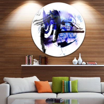 Design Art Blue Stain Abstract Disc Abstract Circle Metal Wall Art