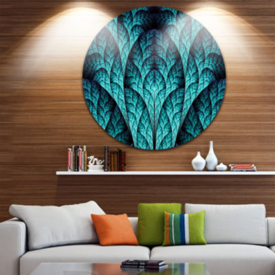 Design Art Blue Exotic Biological Organism Abstract Round Circle Metal Wall Decor