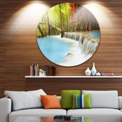 Design Art Blue Waters of Huai Mae Kamin WaterfallDisc Landscape Circle Metal Wall Art
