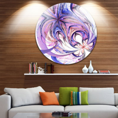 Design Art Blue and Pink Flower Pattern Floral Circle Metal Wall Art