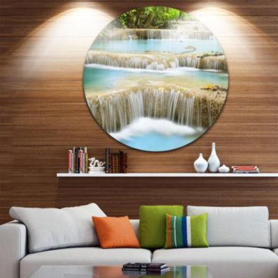 Design Art Blue Erawan Waterfall Landscape Disc Photography Circle Metal Wall Art