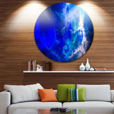 Design Art Blue Sparkling Lightning Abstract Circle Metal Wall Art