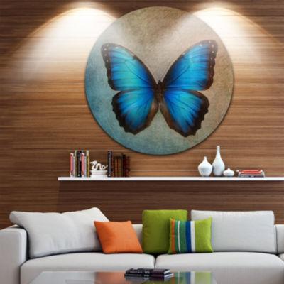 Design Art Blue Vintage Butterfly Floral Circle Metal Wall Art