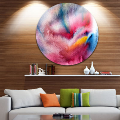 Design Art Blue and Red Abstract Stain Disc Abstract Circle Metal Wall Art