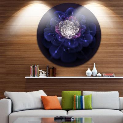 Design Art Blue White Fractal Flowers Floral Circle Metal Wall Art