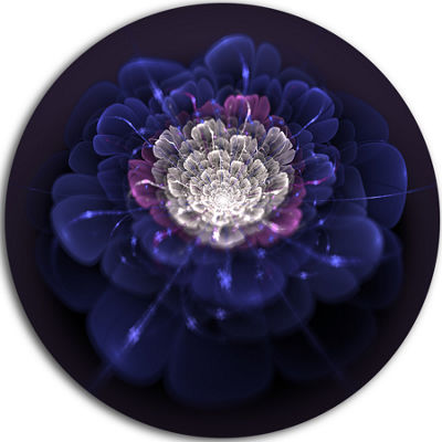 Design Art Blue White Fractal Flowers Floral Circle Metal Wall Art