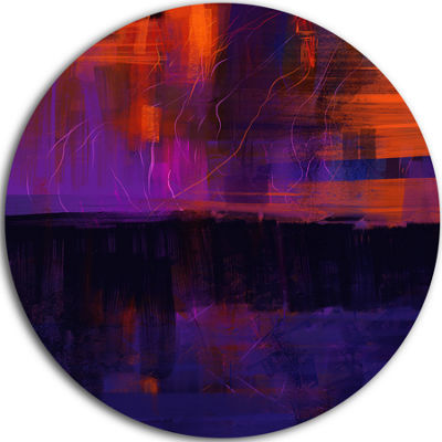 Design Art Blue Vs Red Textures Abstract Circle Metal Wall Art