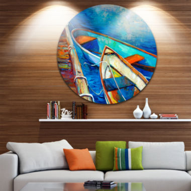 Design Art Boats and Pier in Blue Shade Seascape Circle Metal Wall Art