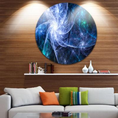Design Art Blue Fractal Star Pattern Abstract Round Circle Metal Wall Decor