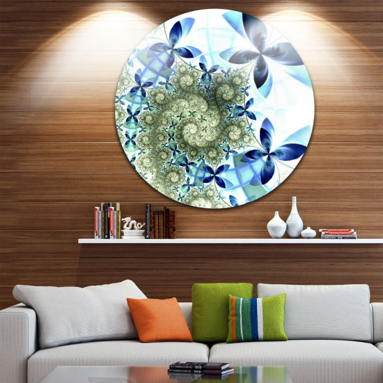 Design Art Blue and Green Fractal Flowers Disc Floral Circle Metal Wall Art