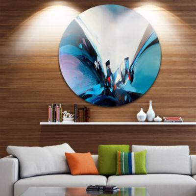 Design Art Blue Panoramic Abstract Design Disc Abstract Circle Metal Wall Art