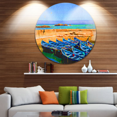 Design Art Blue Boats in Sea Disc Seascape CircleMetal Wall Art