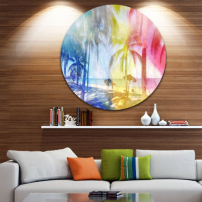 Design Art Blue Retro Palm Trees Landscape Painting Circle Metal Wall Art