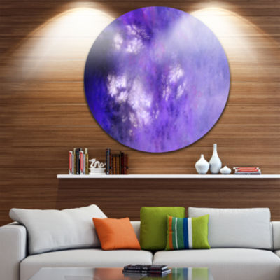 Design Art Blur Purple Sky with Stars Abstract Round Circle Metal Wall Decor