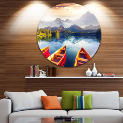 Design Art Boats Heading to Lake Disc Landscape Circle Metal Wall Art