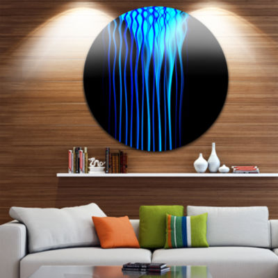 Design Art Blue Flames Fractal Pattern Abstract Art on Round Circle Metal Wall Decor Panel