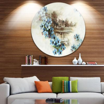 Design Art Blue Flowers Illustration Disc Floral Circle Metal Wall Art