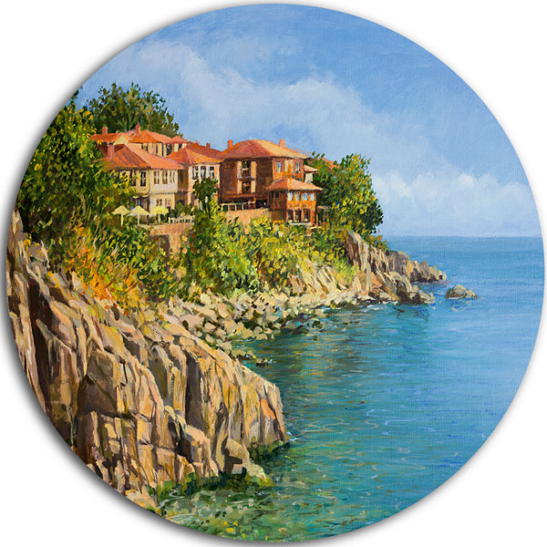 Design Art Blue Summer Sea Landscape Circle MetalWall Art