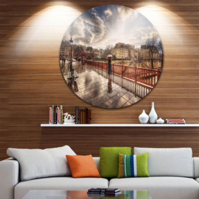 Design Art Bridge in Rain Disc Landscape Photo Circle Metal Wall Art
