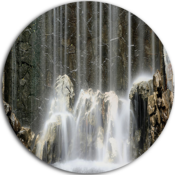 Design Art Blue Mountain River Disc Photography Circle Metal Wall Art