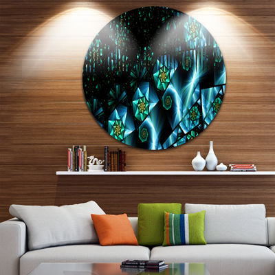 Design Art Bright Blue Fractal Flowery Sky Abstract Round Circle Metal Wall Decor Panel