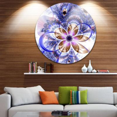 Design Art Blue Light Fractal Flower Disc Floral Circle Metal Wall Art