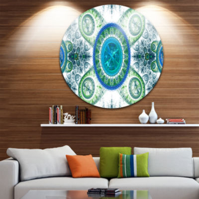Design Art Blue Psychedelic Relaxing Art AbstractRound Circle Metal Wall Decor