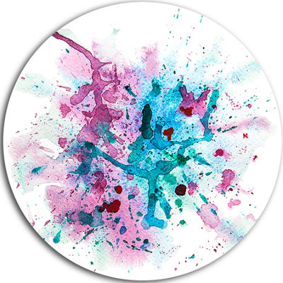 Design Art Blue and Purple Paint Stain Disc Abstract Watercolor Circle Metal Wall Art