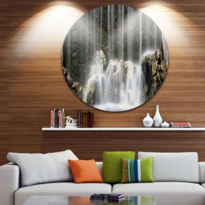 Design Art Blue Mountain River Disc Photography Circle Metal Wall Art