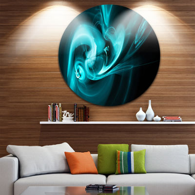 Design Art Blue Colored Smoke Pattern Abstract Circle Metal Wall Art