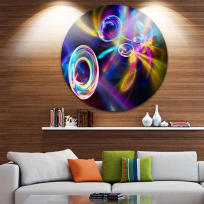 Design Art Blue Fractal Desktop Disc ContemporaryCircle Metal Wall Art