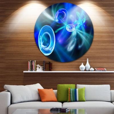 Design Art Blue Fractal Desktop Abstract Circle Metal Wall Art