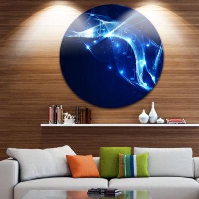Design Art Blue Musical Background Abstract CircleMetal Wall Art