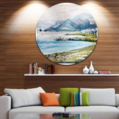 Design Art Blue Hills Over Sea Landscape Circle Metal Wall Art