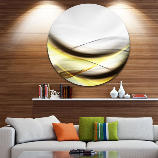 Design Art Abstract Golden Waves Abstract Circle Metal Wall Art