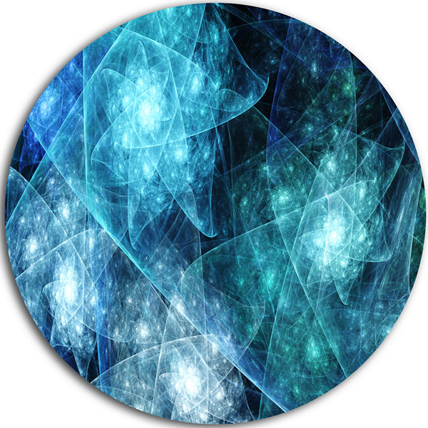 Design Art Blue Rotating Polyhedron Abstract RoundCircle Metal Wall Decor