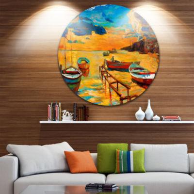 Design Art Boats in Beautiful Sea Seascape CircleMetal Wall Art