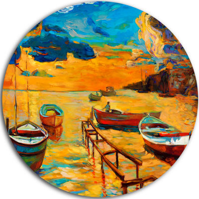 Design Art Boats in Beautiful Sea Seascape CircleMetal Wall Art