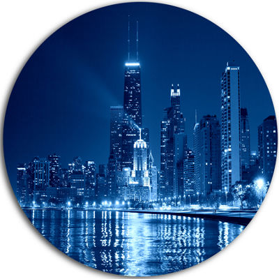 Design Art Blue Chicago Skyline Night Disc Cityscape Photo Circle Metal Wall Art
