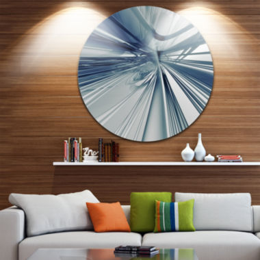 Design Art Blue 3D Textured Art Abstract Circle Metal Wall Art