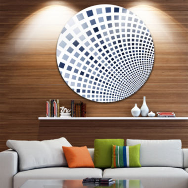 Design Art Blue Square Pixel Mosaic Illustration Abstract Round Circle Metal Wall Decor Panel