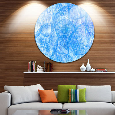 Design Art Blue Fractal Dramatic Clouds Abstract Round Circle Metal Wall Decor