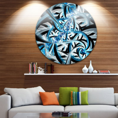 Design Art Blue Spiral Fractal Design Disc Abstract Circle Metal Wall Art