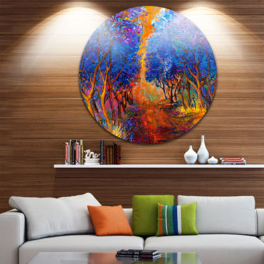 Design Art Blue Autumn Forest Disc Landscape Circle Metal Wall Art